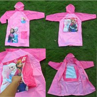 bag capes - Frozen Raincoat Children Rain Cape Cartoon Pattern Elsa Anna Design Kids PVC Hooded Rain Coat With School Bag Packing Rainwear T H425