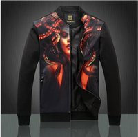 america definition - 2016 Men s Fashion classic definition digital printing portraits cardigan jacket collar male jacket trend in Europe and America