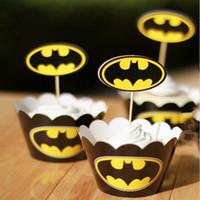 al por mayor primeros de la torta del ayudante personal-Classic Batman Wrappers Cajas de decoración Copas pastelera con Toppers selecciones para Suministros Niños de Navidad Fiesta de cumpleaños