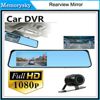 av out card - Rearview Mirror quot LCD Bule Screen HD1080P V180 AV OUT one Camera Viedo Recorder Car DVR Blackbox G Senser v180 DHL free