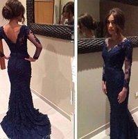 Wholesale 2015 New Long sleeved Lace Dress Slim Large Hem gown Black Fishtail Prom Garment