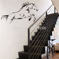 Wholesale High quality Waterproof Black Jumping Horse Art Wall Stickers Vinyl Decal Stylish Home Graphics Bedroom Decoration small order no tracking