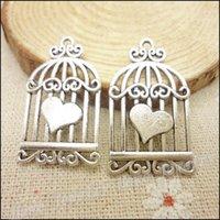 Wholesale 50 Charms Birdcage Pendant Tibetan silver Zinc Alloy Fit Bracelet Necklace DIY Metal Jewelry Findings