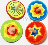 Wholesale Wooden spinning top multicolour rotary traditional toys toy color