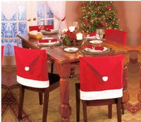 Wholesale 12pcs New Fashion Santa Clause Red Hat Chair Back Cover Christmas Dinner Table Party Decor For Christmas