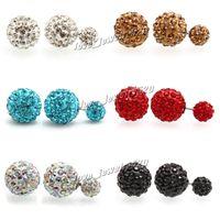 ball studs - 60pairs Top grade silver earrings for women Shambhala Wedding Double Ball Stud Earrings Engagement silver Jewelry