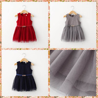 western dresses - Kids Girls Fall Winter Woolen Blend Tutu Lace Party Dresses with Bets Western Fashion Kid Girl Red Blue Grey Color Casual Dresses