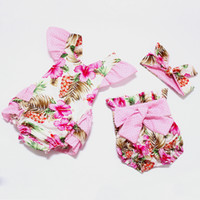 romper - 2016 New arrival spring summer baby boutique romper headband shorts boutique sets infant cute vintage floral clothing set