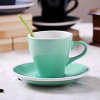 Wholesale Cermaic Teacup and Saucer Coffee Cup set Milk With Dish Spoon Mint Grey Black White Plain ml