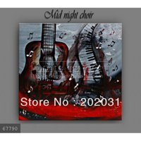 art choir - 100 handmade modern guitar art music instrument black and white oil painting on canvas Mid night choir x50cm