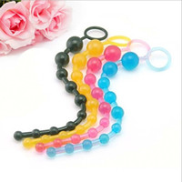 Wholesale NEW Portable Colorful Anal Butt Beads Silicone Jelly Plug Pull Chain Sex Toy Masturbator For Men Women Adult