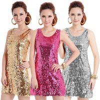 beautiful usa women - Promotion European sequin dresses for Women beautiful mini dress USA apparel Gold Silver Red