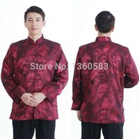 Wholesale Hot Chinese style clothes mens Tang suit silk satin Kung Fu Tai Chi casual shirts Special offer tangzhuang