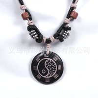 religious jewelry - Shop Tai Chi Bagua Map Bone Necklace Pendant Jewelry Leather Jewelry Religious Jewelry Style