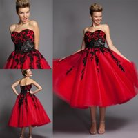 occasion dresses - Charming Long Black And Red Prom Dresses With Sweetheart Appliques Tulle Tea Length Formals Party Formals Special Occasion Dresses VT