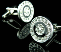 Wholesale High Quality White Crystal Silver Cufflink For Shirt French Cufflinks Fathers Day Gifts For Mens Jewelry Wedding Cuff Links
