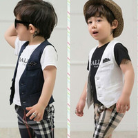 Cheap 3 Pcs Set 2015 Summer Baby Boy Clothes Vest+T-shirt+Stars Pant Suit Childrens Boys New Arrival Fashion Kids Shirt Three Pieces Outfits,6 Set