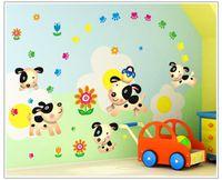 Carton chien autocollants mur mur pour les enfants chambre zy7036 décor mural décalcomanies mur PVC décran papier peint bricolage