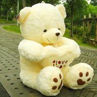 achat en gros de valentines mignon en peluche-Beige Giant Big peluche ours en peluche souple pour l'anniversaire de la Saint-Valentin bouffante ours en peluche géant mignon