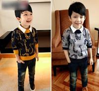 giraffe print - Korean Hot Children Boys Giraffe Printed Sweater Spring Long Sleeve Round Collar Kids Pullover Tops Baby Clothes Tops Yellow Gray L2467
