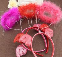 adult headbands - Sexy Angel Wings Pink Red White Marabou Feather Halo Halloween Costume Headband Adult Child DHO357