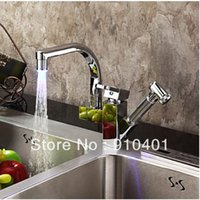 bar sink faucets stainless - And Retail Promotion LED Colors Polished Chrome LED Kitchen Bar Sink Faucet Swivel Spout Mixer Tap