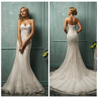 Cheap 2015 Amelia Sposa Wedding Dresses A Line Organza Sweetheart Bakless Sleeveless Sweep Train Beads Bridal Wedding Gowns Cloe Luxry New Arrival
