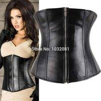Cheap Wholesale-Black Leather waist cincher underbust Corset with zipper slimming belt corselet corpete e espartilho cinta emagrecedora 2XL E116