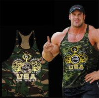 camouflage wholesale - 2016 New US Vintage men t shirts fashion cotton brand Fitness word camouflage vest fashion men t shirts