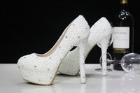 best pump quality - Best Quality Luxurious Pearls Wedding Shoes In White Ivory Custom Made Size CM High Heel Bridal Shoes Party Prom Women Pumps