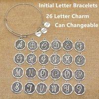 Vente en gros-Hot New American Jewelry Argent Plaqué A-Z Lettre initiale Charme Bracelets réglables Femmes Bracelet extensible Bracelet