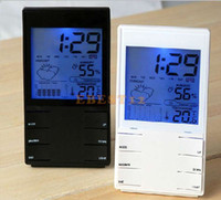Wholesale fashion HTC S High Precision quot LCD Electronic Hygrometer Thermometer w Calendar Alarm Clock Black