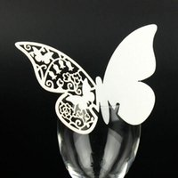 Wholesale 120pcs Laser Cut Butterfly Place Card Escort Card Wine Glass Card Wedding Party Decoration z110