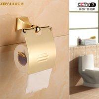Wholesale All copper toilet paper holder toilet paper holder toilet roll antique golden tray Continental toilet paper box tissue box