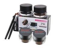 cream eye liner - 2 in Music Flower brand black brown gel Eyeliner Waterproof Anti smudge gel eye liner brush make up