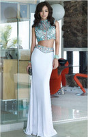 Wholesale 2016 Slim Evening Dresses High Neck Two Piece White Black Sheath With Beads Crystals Blings Sparkles Celebrity Gown Party Long Prom Dress