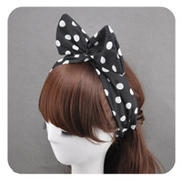 Wholesale 10PCS Women s Polka Dots Headband Bandana Rockabilly Vintage Scarf Wrap Bow Bunny Ear Hair band Headband MF20