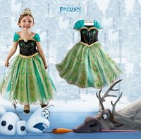Wholesale Free DHL New Design Baby Girls Dress Frozen Elsa Anna Princess Dress Kids Tutu Fashion Children Gold Edges Sleeves Green Dress