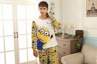 men cotton pajamas set - cute underwear for women MEN Despicable Me minion clothes LOVER winter cartoon pajamas for adults cute girls womens pajamas set