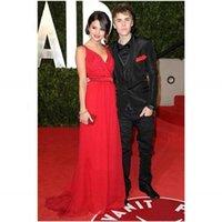 selena gomez dress - Selena Gomez Evening Dresses V neck A Line Spaghetti Strap Sash Chiffon Oscars Red Carpet Celebrity Dresses Zipper Back Evening Gowns