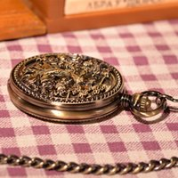 antiques phoenix - Antique Vine Retro Bronze Fires Phoenix Angling Mechanical Pocket Watch Necklace Chain Men Women Luxury Gift