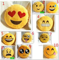 Wholesale 20 color Cute Emoji Smiley Yellow Pillows Cushion Cartoon Facial QQ Expression Yellow Round Decorative Pillows Stuffed Plush Toy