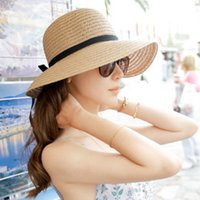 Wholesale New Fashion Sun Hat Women s Ladies Summer Foldable Straw Hats For Women Beach Headwear Colors Top Quality