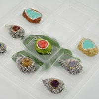 Wholesale Finding Mixed Color Rhinestone Drzuzy Quartz Agate Stone Connector Beads Jewelry making