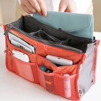 Wholesale 2015 NEW colors Bag in Bag Dual Insert Multi function Handbag Makeup Pocket Organizer Purse