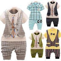 Wholesale 2015 kids clothes OFF Kids Summer Clothes Set Baby Boy Clothing Set Plaid Vest Tie Tshirt Shorts Pants Gentleman Suit Casual Wear