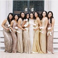 Wholesale Gold Long Bridesmaid Dresses Plus Size Custom Made Sheath Lace Sequins Maid of Honor Wedding Party Gowns Christmas