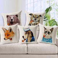 bear throws - Bear pillow case Cartoon drawing animal panda deer fox cat dog lion throw pillow case pillow cover