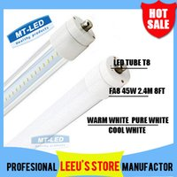 T8 42W SMD 2835 FA8 single pin LED tube 8ft 45W 4500lm frosted clear cover light lamp SMD 2835 2.4m LED fluorescent tube lighting 85-265V 3 years warranty