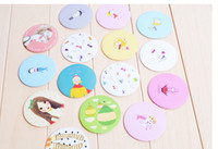 Wholesale 100pcs Korea cartoon loveliness Portable small mirror cosmetic mirror Button mirror donation girls boy gift christmas gift